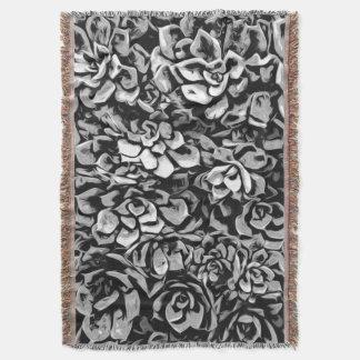Cobertor Plantas de preto e branco