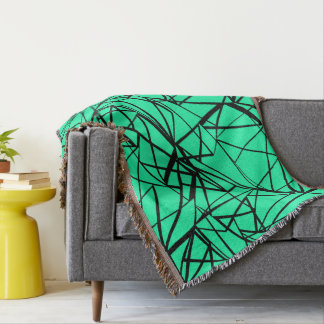 Cobertor Preto abstrato e turquesa