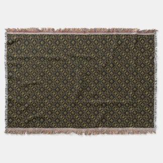 Cobertor Preto e teste padrão geométrico brilhante do ouro