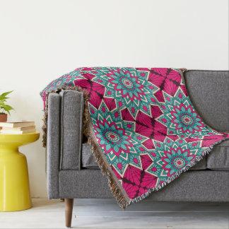 Cobertor Rosa e teste padrão floral da mandala de turquesa