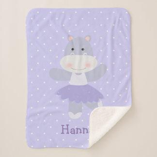 Cobertor Sherpa Bebé roxo da bailarina do hipopótamo