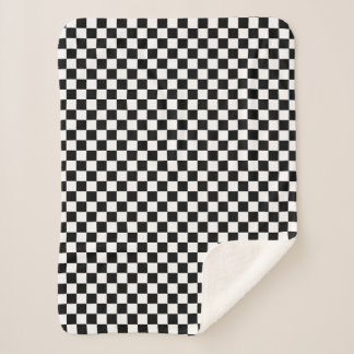 Cobertor Sherpa Branco de competência Checkered clássico do preto