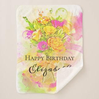 Cobertor Sherpa Buquê da flor da aguarela do aniversário