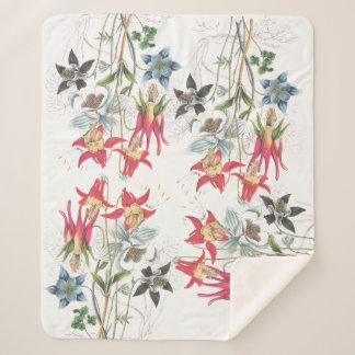 Cobertor Sherpa Cobertura aquilégia botânica de Sherpa das flores
