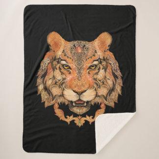 Cobertor Sherpa Cobertura de Sherpa do tatuagem indiano do tigre