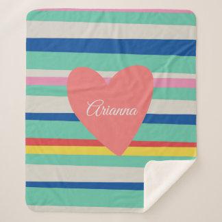 Cobertor Sherpa Coração feminino do arco-íris bonito
