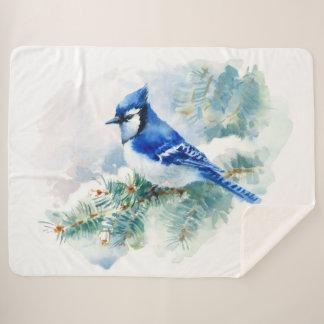 Cobertor Sherpa Da aguarela grande Sherpa cobertura azul de Jay