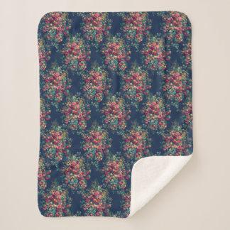 Cobertor Sherpa Damasco azul clássico da cor dos rosas do vintage