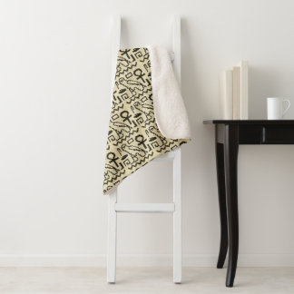Cobertor Sherpa Impressão natural do Crochet do preto dos