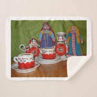 Cobertor Sherpa Tempo do chá da boneca do russo