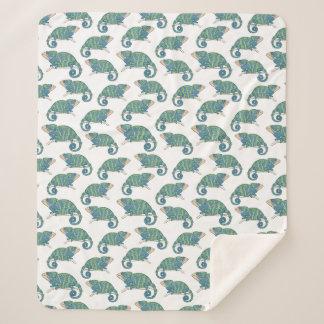 Cobertor Sherpa Teste padrão do camaleão