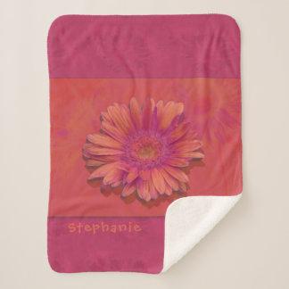 Cobertor Sherpa Uma margarida com alaranjado e o magenta