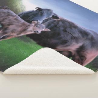 Cobertor Sherpa Vaca e vitela pretas de Angus