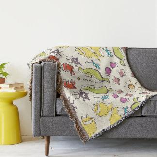 Cobertor Simetria bonito colorida do pardal do gato do cão