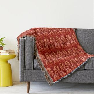 Cobertor Teste padrão da pena do art deco, tanjerina