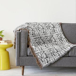 Cobertor Teste padrão da tipografia dos artesanatos do