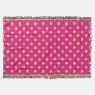 Cobertor Teste padrão de bolinhas elegante da folha de ouro