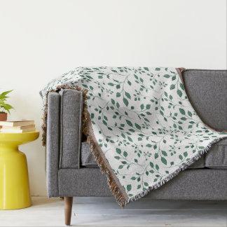 Cobertor Teste padrão verde rústico da folha da aguarela
