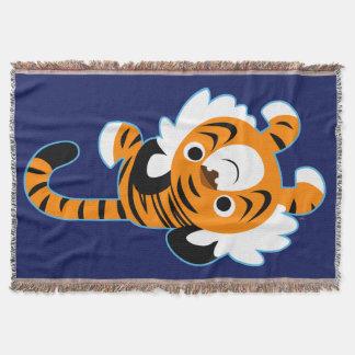 Cobertor Tigre bonito descontraído dos desenhos animados