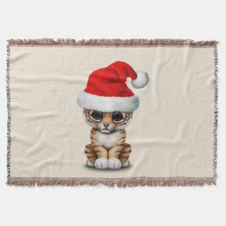 Cobertor Tigre Cub bonito que veste um chapéu do papai noel