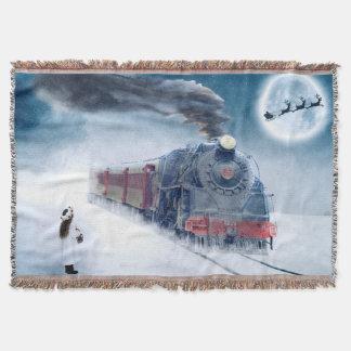 Cobertor Trem da meia-noite do Natal com menina e papai