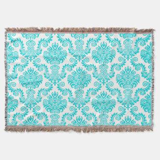 Cobertor Turquois e cor damasco branca {escolha sua cor}