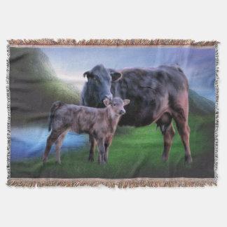 Cobertor Vaca e vitela pretas de Angus
