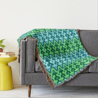 Cobertor Verde do damasco, da turquesa & de jade de Ikat do