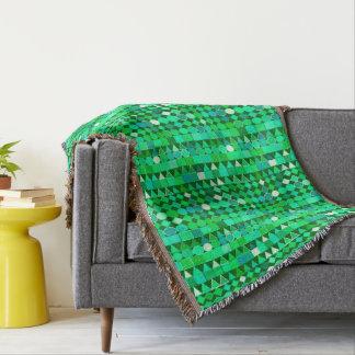 Cobertor Verde geométrico, esmeralda tribal moderno e Aqua