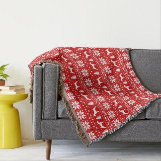 Cobertor Vermelho do teste padrão do Natal das silhuetas de