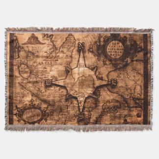 Cobertor Viajante de mundo antigo - rosa do mapa & de