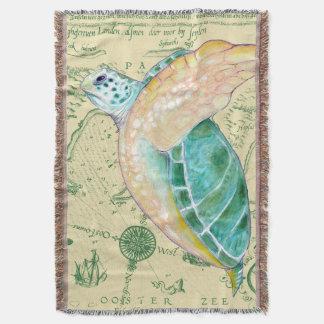 Cobertor Vintage do mapa de Tan da tartaruga de mar