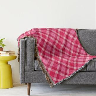 Cobertor Xadrez moderna do meio século - rosa e vinho
