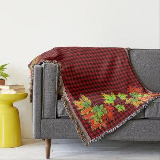 Cobertor Xadrez vermelha e preta do país - folhas de bordo