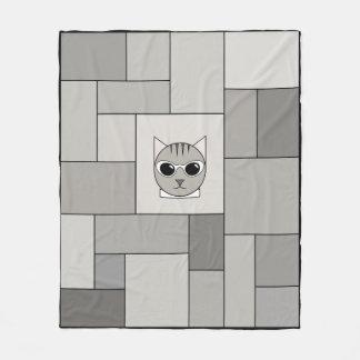 Cobertura cinzenta dos retalhos do gato malhado cobertor de velo