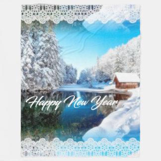 Cobertura do feliz ano novo cobertor de lã
