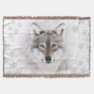 Cobertura do lance do lobo do inverno throw blanket