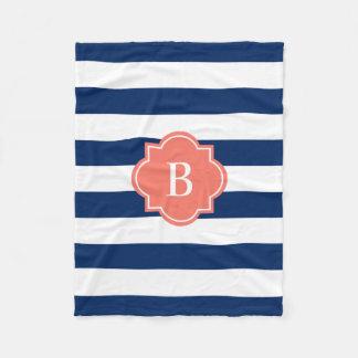 Cobertura do velo da listra | do monograma do cobertor de lã