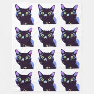 Cobertura do velo do gato preto cobertor de velo