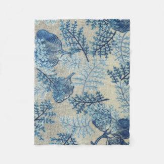 Cobertura floral do Weave antigo azul e branco Cobertor De Velo