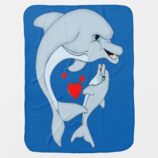 Cobertura maternal do bebê do amor do golfinho cobertorzinho para bebe