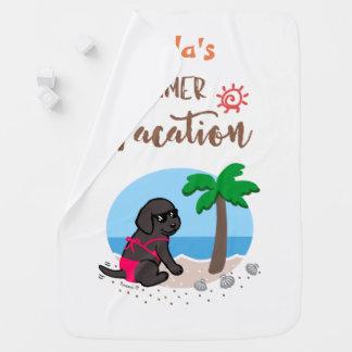 Cobertura preta das férias de verão da menina de manta para bebe