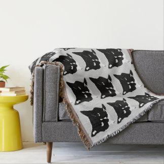 Cobertura preto e branco do lance do gato manta