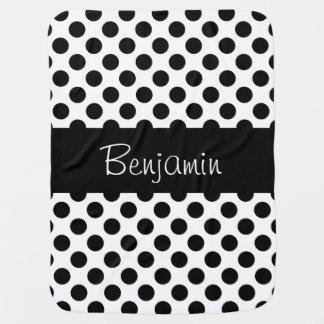 Cobertura preto e branco personalizada do bebê de manta para bebe