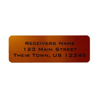Cobre metálico etiqueta endereço de retorno