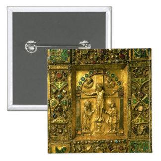 Cobrir do evangelho, Ottonian, Alemanha, século XI Bóton Quadrado 5.08cm