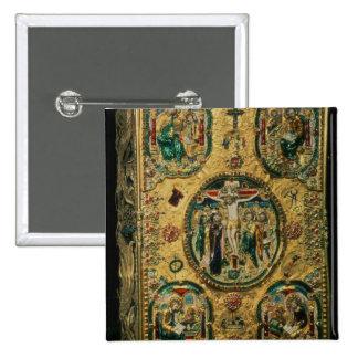 Cobrir do evangelho, ouro com repousse bóton quadrado 5.08cm