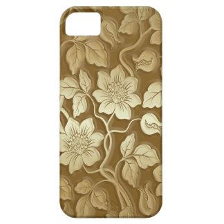 Cobrir dourado do iPhone 5 do impressão floral do Capa Barely There Para iPhone 5