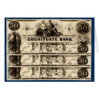 Cochituate 1853 nota de cinqüênta dólares cartão comemorativo