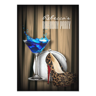 cocktail azul de martini dos estiletes do leopardo convite personalizado